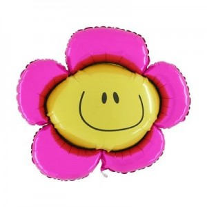 Pembe Papatya Smiley Folyo Balon 82cm