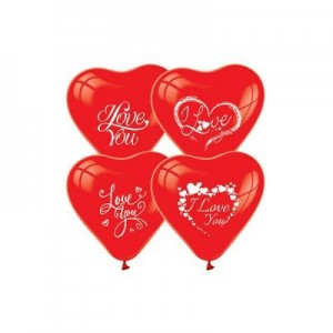 I Love You Baskili Kirmizi Kalp Balon pakette 10 adet